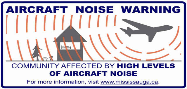 Airplane noise sign located in Mississauga