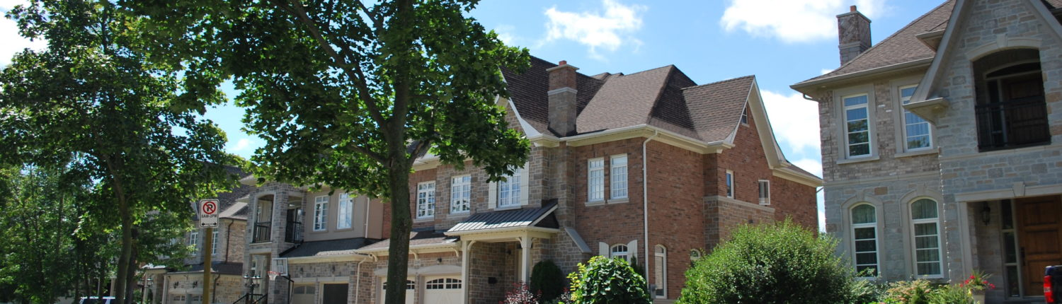 A street view of houses in Erindale Village Mississauga