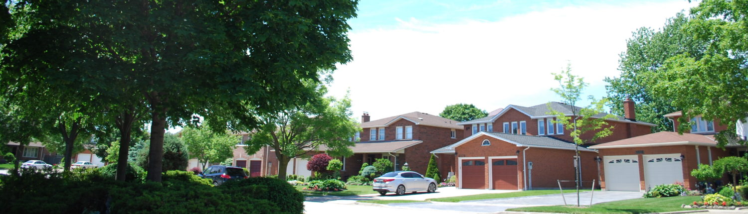a street view of detached houses in rathwood mississauga