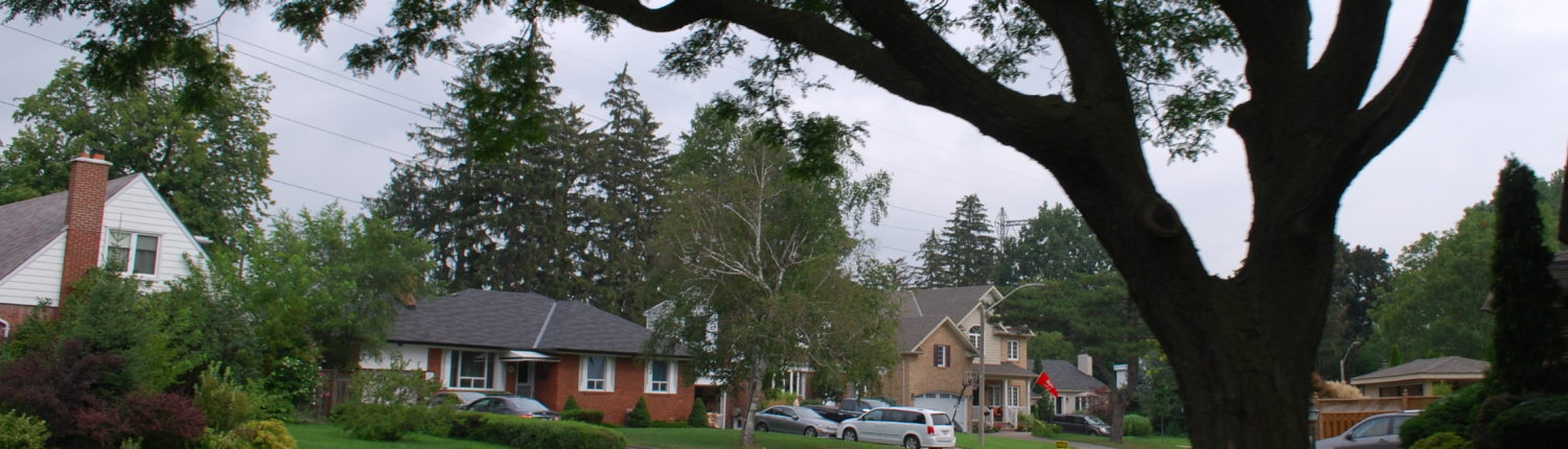 a typical suburban street found in Lakeview Mississauga