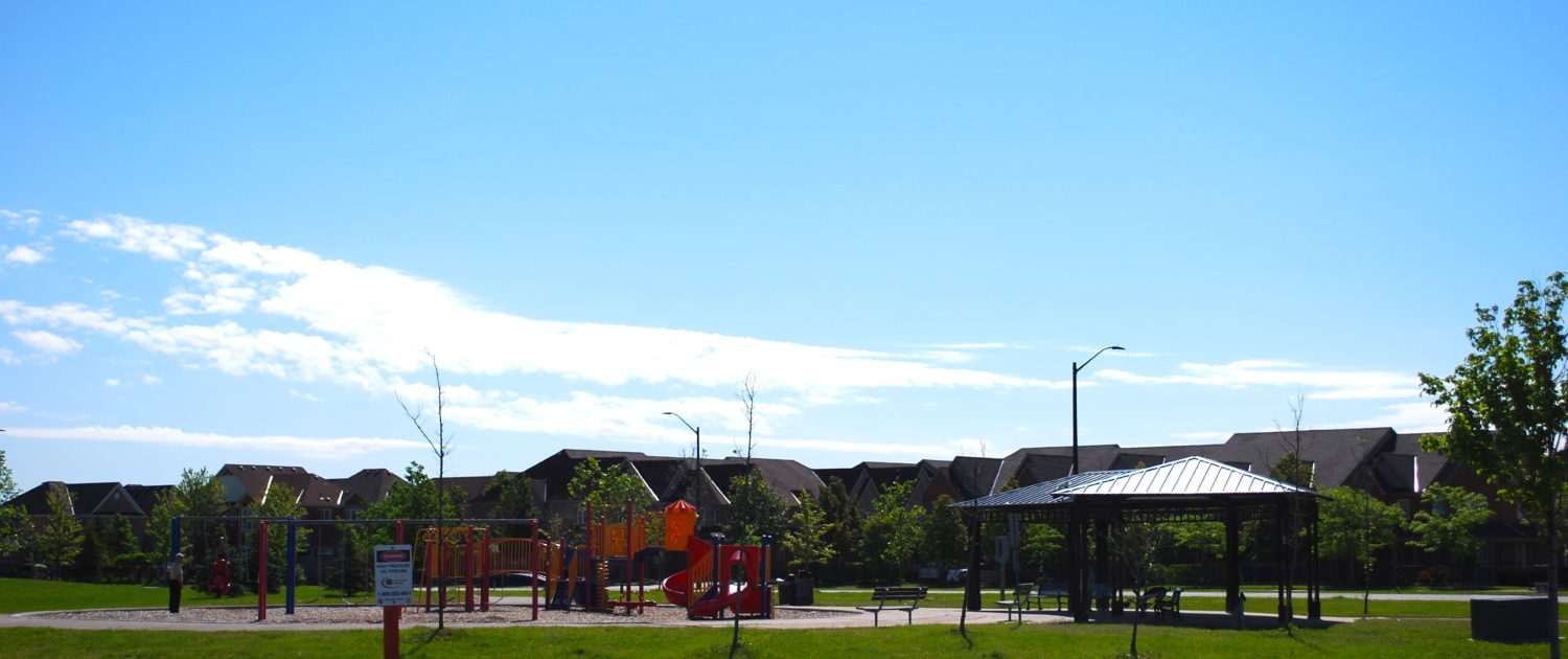Typical childrens playground in Churchill Meadows Mississauga