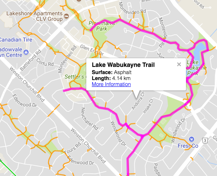 Map of the Lake Wabukayne Trail in Meadowvale Mississauga