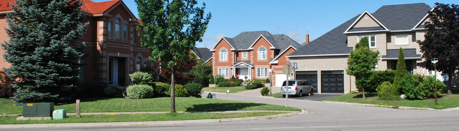 a street view of detached houses in Lisgar Mississauga