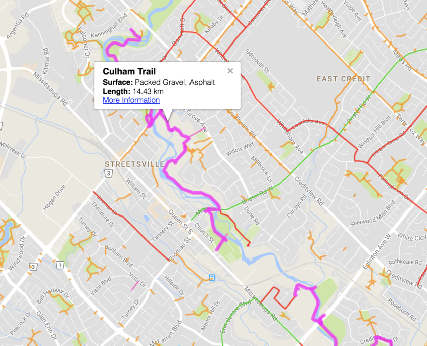 The Culham trail runs through East Credit