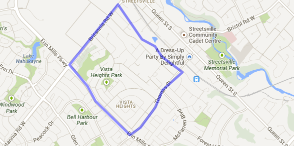 Map showing the neighbourhood of vista heights in streetsville