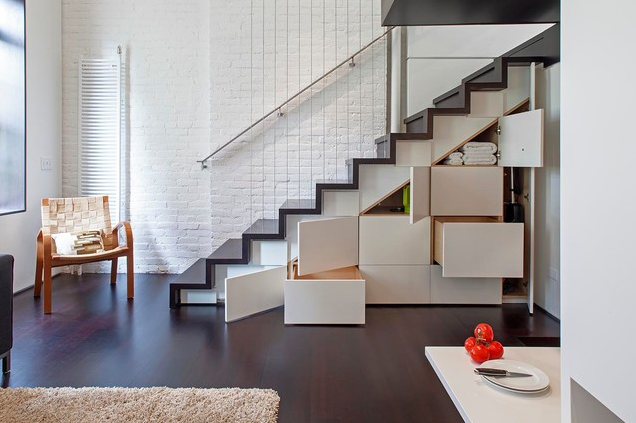 While I'm not suggesting going to this length to increase storage, keep in mind that family buyers are looking for lifestyle features including ample storage .Photo courtesy of Houzz http://www.houzz.com/photos/2919768/Manhattan-Micro-Loft-modern-staircase-austin