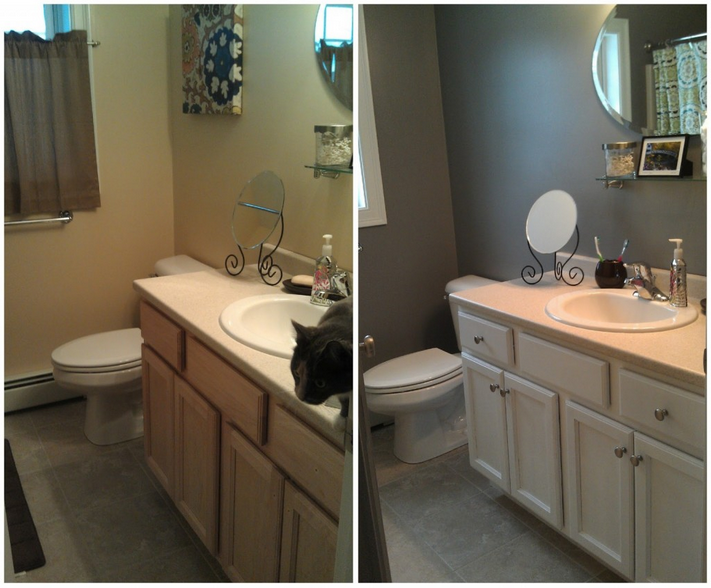 Changing the colour and hardware on bathroom cabinets can have a huge impact! Photo: www.le-compas.ca