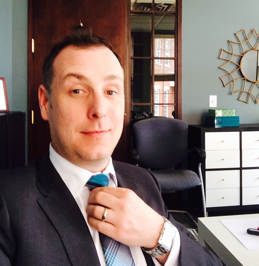 "A ""selfie"" of me at the office in my new suit!"