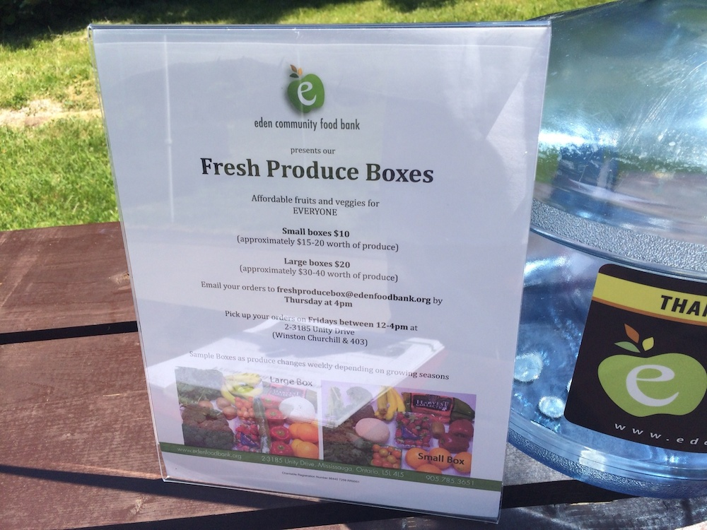 Eden Food Bank was on hand to educate the public about what they do and also promote their fresh produce boxes.