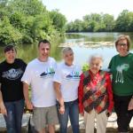 Jeffrey O'Leary posing at the Lake Waubkayne Stewardship Event with Mayor Hazel Mccallion