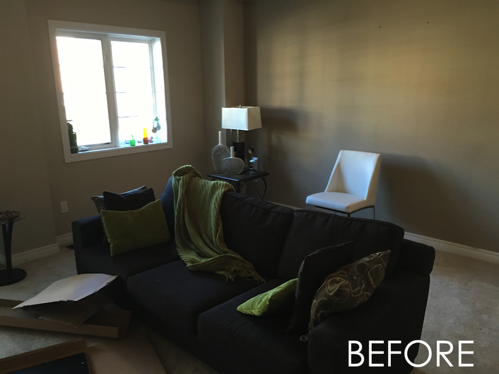 Before: The Living/Room only had a couch and it made the space feel smaller