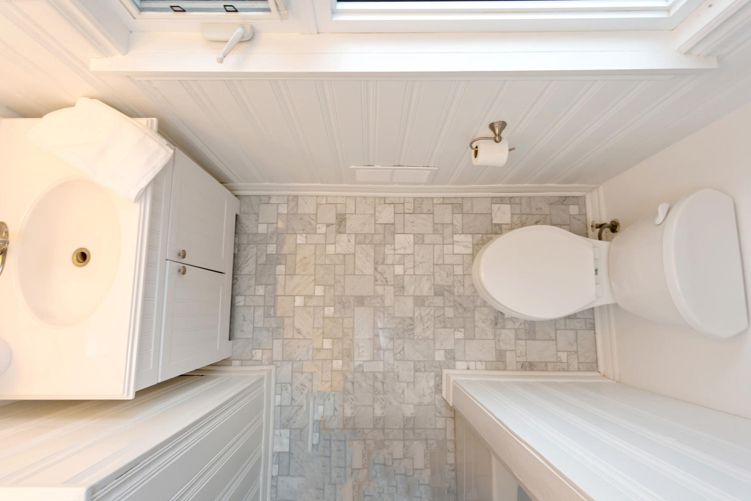 Using a more interesting floor tile can add luxury and interest to an otherwise small bathroom space