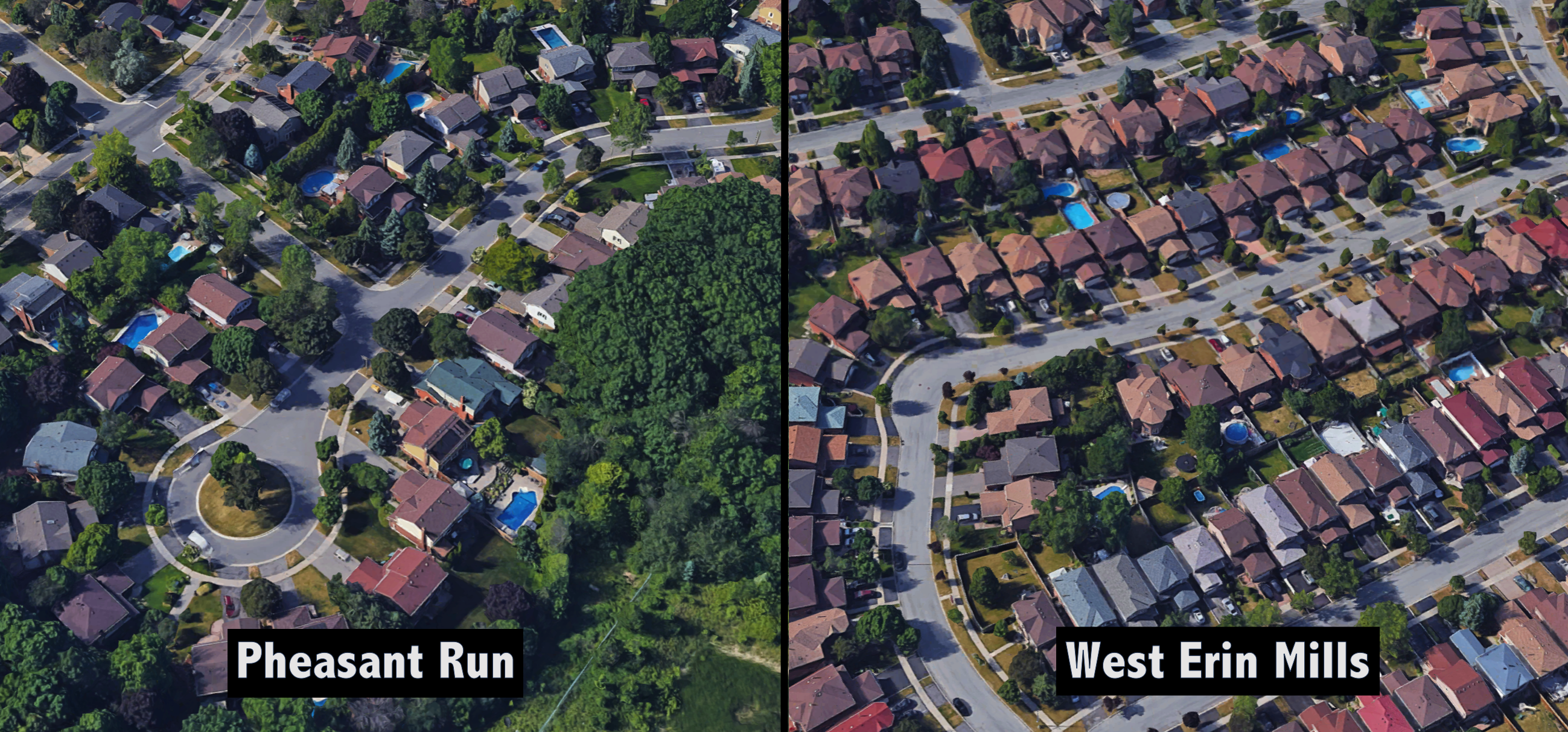Comparing land sixes for homes in pheasant run versus west erin mills