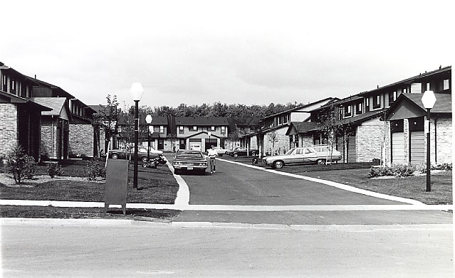 a historic image of a town house complex in Mississauga taken in the 1970's
