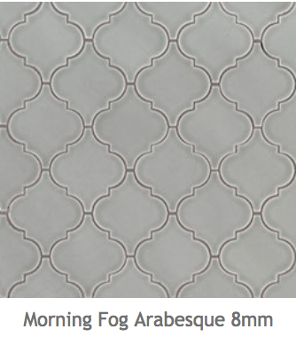 White Kitchens Blue Grey Ceramic Arabesque Mosaic