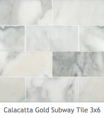 White Kitchens Calacatta Gold Subway Mosaic