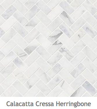 White Kitchens Calacatta Herringbone Mosaic