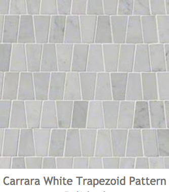 White Kitchens Carrara Whie Trapezoid Mosaic