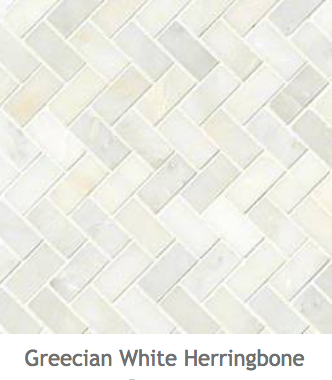 White Kitchens Greecian White Herringbone Mosaic