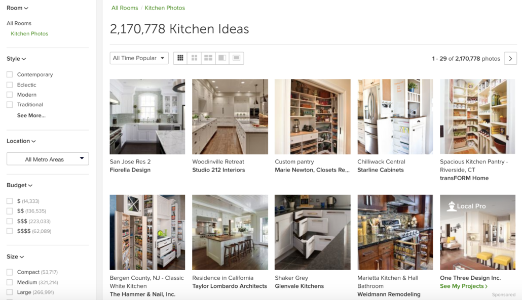 Houzz all time popular kitchen photo white kitchens