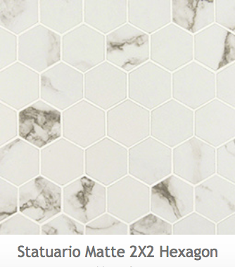 White Kitchens Statuario Hexagon Mosaic