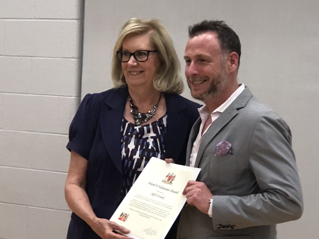 Jeffrey O'Leary receives the City of Mississauga Ward 9 Community Volunteer Award